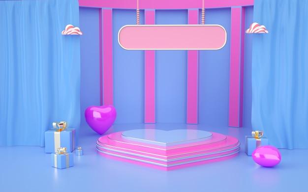 Rendering 3d della romantica piattaforma blu con confezione regalo e tenda per la visualizzazione del prodotto