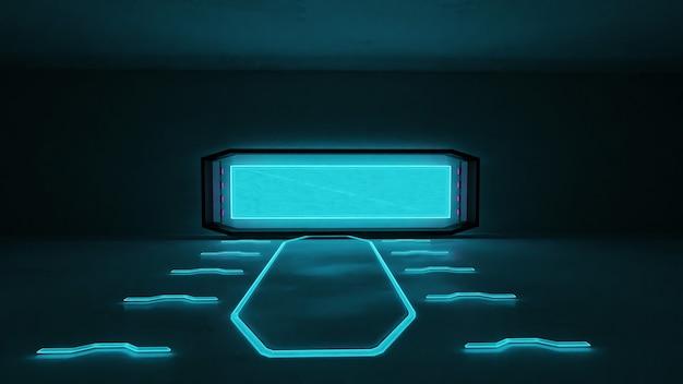 Rendering 3d di stanza con finestra e luce al neon blu