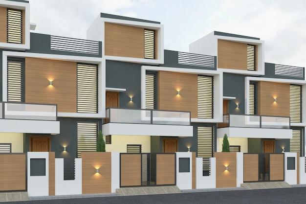 Rendering 3d di case a schiera nella luce del giorno