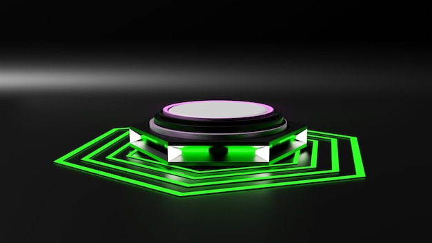 Il rendering 3d della piattaforma mockup in stile sai-fi simula un giroscopio.