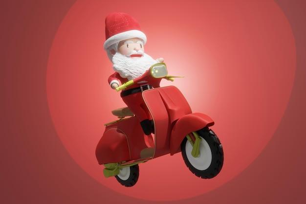 Rendering 3d di babbo natale in sella a uno scooter