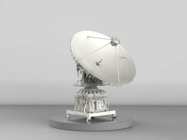 Parabola satellitare di rendering 3d su sfondo grigio