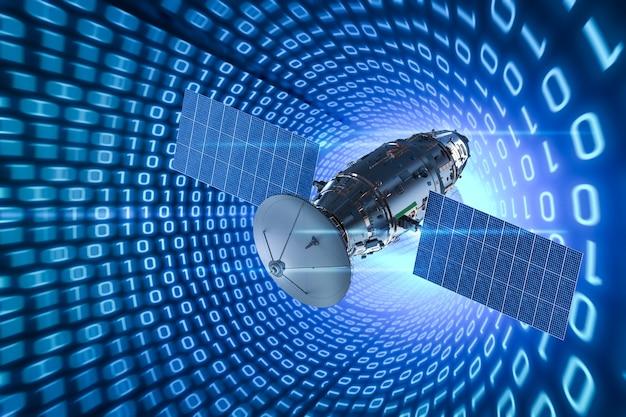Parabola satellitare di rendering 3d con antenna su sfondo di codice binario