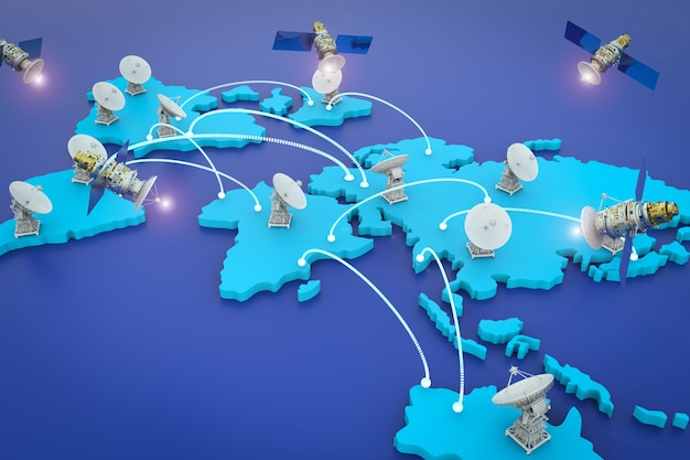 Parabole satellitari di rendering 3d per la comunicazione globale