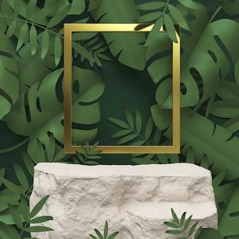 Visualizzazione del podio della scena di rendering 3d per la presentazione di prodotti cosmetici