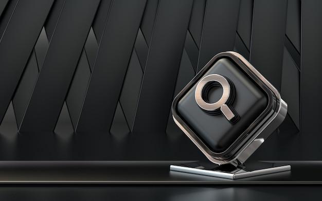 3d rendering icona di ricerca banner social media sfondo astratto scuro