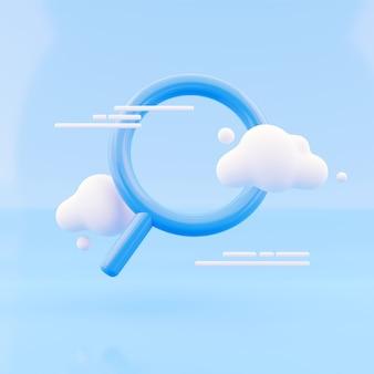 Icona di ricerca rendering 3d con nuvola su sfondo blu. lente, lente d'ingrandimento, ingrandimento, icona di ricerca 3d rendono sfondo astratto