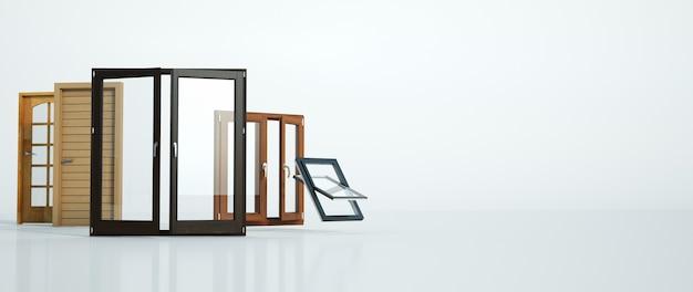 Rendering 3d di una selezione di diversi tipi di porte e finestre