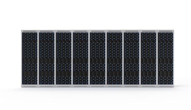 Computer server di rendering 3d su sfondo bianco