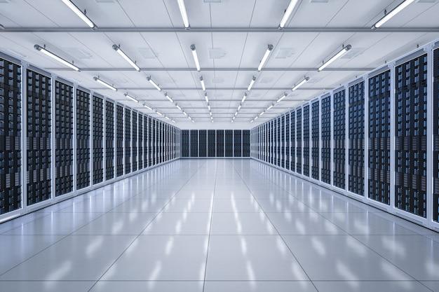 Sala server o data center di rendering 3d