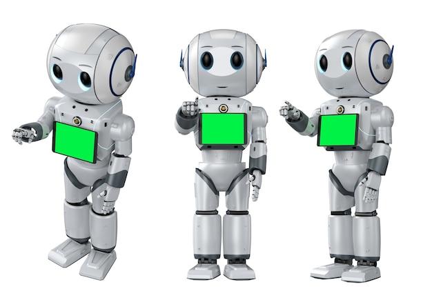 Set di rendering 3d di simpatici robot di intelligenza artificiale punto del dito con tablet schermo vuoto