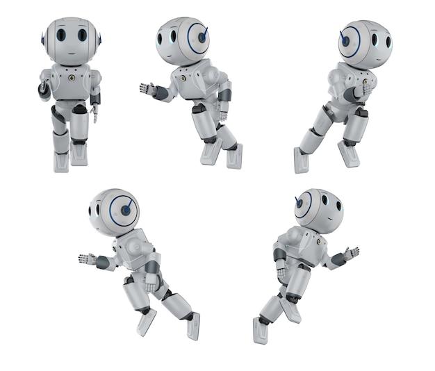 Set di rendering 3d di simpatici robot di intelligenza artificiale che corrono o si muovono