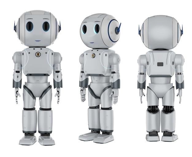 Set di rendering 3d di simpatici robot di intelligenza artificiale con personaggio dei cartoni animati