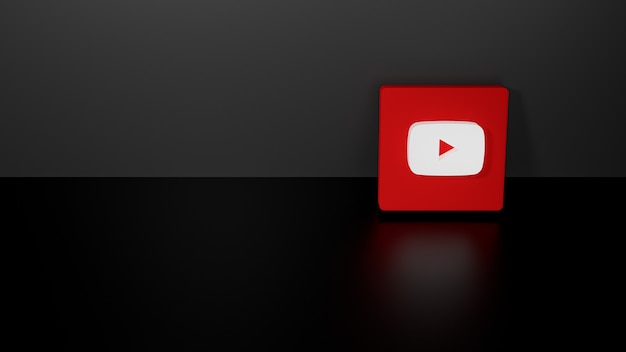 Rendering 3d del logo youtube lucido con un design realistico scuro
