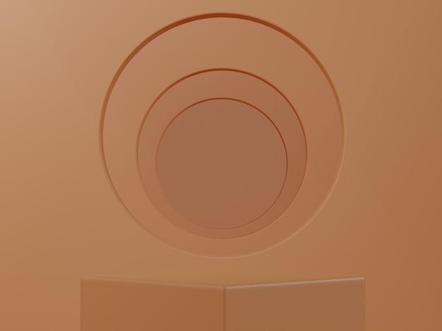 Rendering 3d. mostra prodotto cosmetico, scena vuota. parete minimal arancione pastello. vetrina di moda, vetrina.