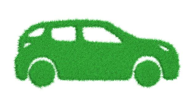 Rendering 3d la sagoma di un'auto ricoperta di erba verde