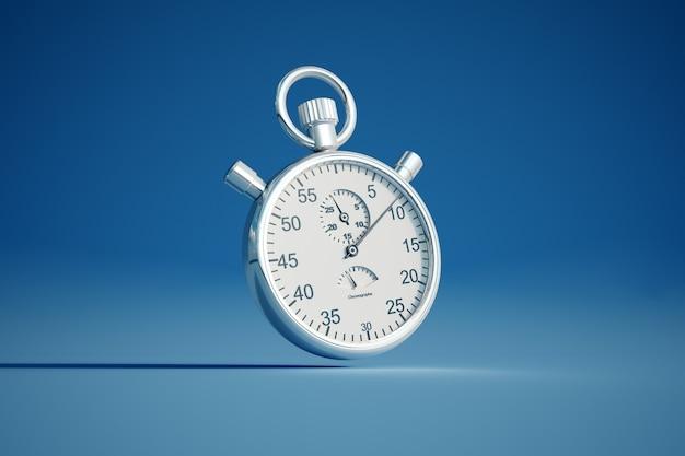Rendering 3d di un cronometro d'argento su uno sfondo colorato