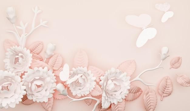 Rendering 3d di semplice sfondo astratto con fiori di rosa e decorazioni a farfalla
