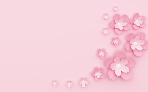 Rendering 3d di semplice sfondo astratto con decorazione floreale rosa