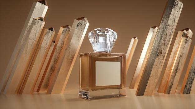 Rendering 3d di semplici bottiglie di profumo in vetro per l'esposizione del prodotto