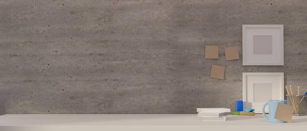 Area di lavoro semplice di rendering 3d nella stanza dell'ufficio domestico con cancelleria e spazio della copia sulla scrivania bianca con mock up frame sulla parete del soppalco