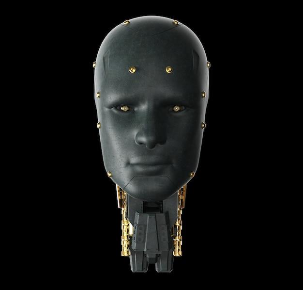 3d rendering monocolore nero ai robot su sfondo nero