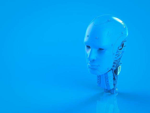 3d rendering singolo colore blu robot ai su sfondo blu