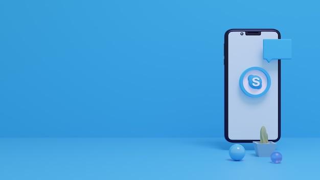 Rendering 3d del logo skype sullo schermo dello smartphone