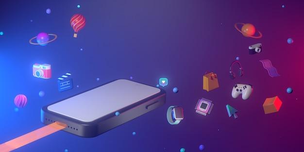 Rendering 3d di smartphone e geometrica astratta.