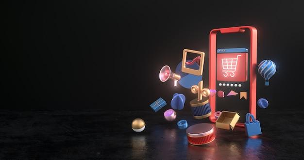Rendering 3d di smartphone e icone del carrello.