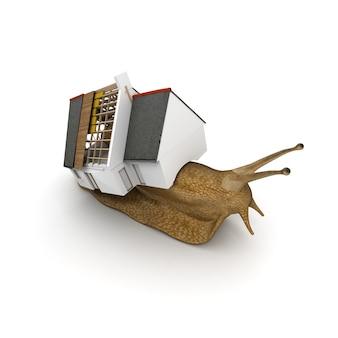 Rendering 3d di una lumaca con una casa in costruzione invece del suo guscio
