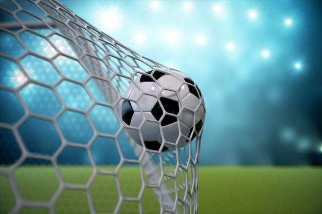 Pallone da calcio della rappresentazione 3d nell'obiettivo. pallone da calcio nella rete con il riflettore e lo stadio accendono il fondo, concetto di successo. pallone da calcio su sfondo blu con erba.