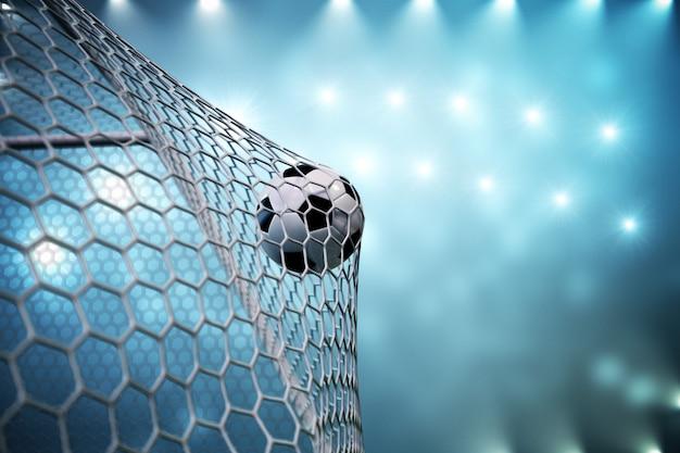 Pallone da calcio della rappresentazione 3d nell'obiettivo. pallone da calcio nella rete con il riflettore e lo stadio accendono il fondo, concetto di successo. pallone da calcio su sfondo blu.