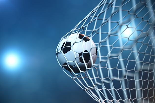 Pallone da calcio della rappresentazione 3d nell'obiettivo. pallone da calcio nella rete con il riflettore o lo sfondo leggero dello stadio, concetto di successo