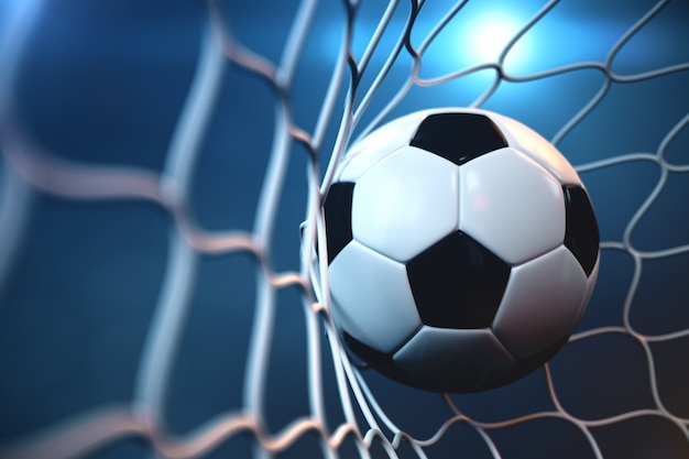 Pallone da calcio della rappresentazione 3d nell'obiettivo. pallone da calcio nella rete con il riflettore o la luce dello stadio, concetto di successo