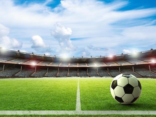 Pallone da calcio rendering 3d sul campo verde con cielo blu