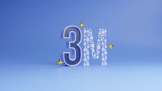 3d rendering social media 3 milioni di follower iscritti grazie banner