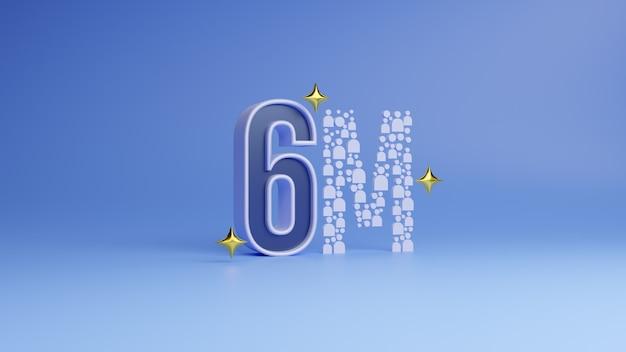 3d rendering social media 6 milioni di follower iscritti grazie banner