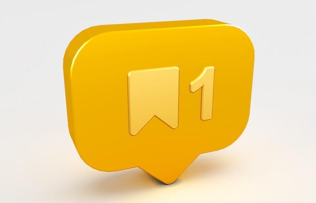 Rendering 3d dell'icona di notifica social media.