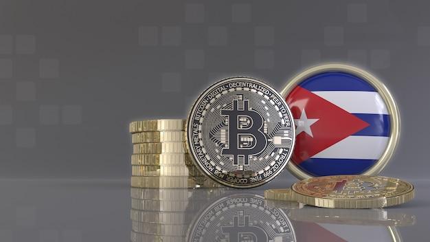 Rendering 3d di alcuni bitcoin metallici davanti a un badge con la bandiera cubana
