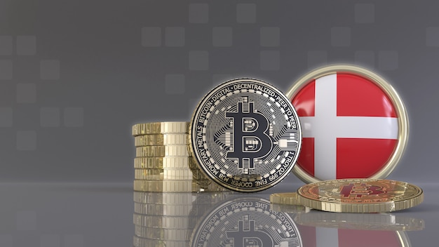 Rendering 3d di alcuni bitcoin metallici davanti a un badge con la bandiera danese