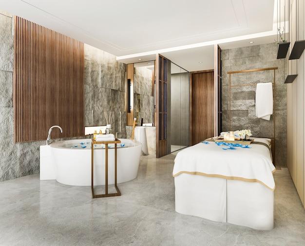 Stazione termale della rappresentazione 3d e benessere di massaggio nella serie di hotel con la vasca