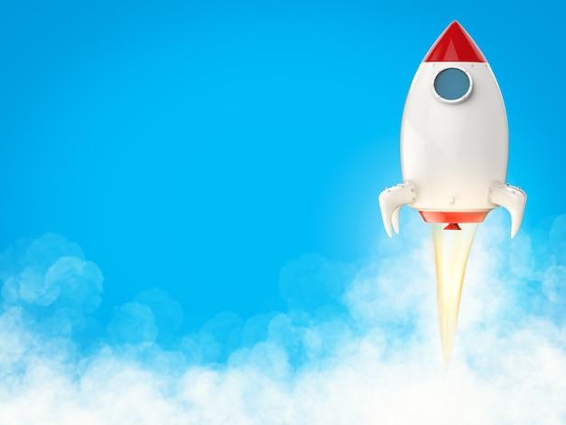Lancio della navetta spaziale di rendering 3d con fumo