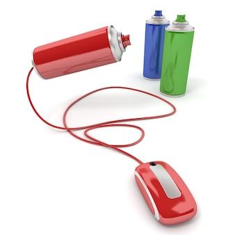 Rendering 3d di bombolette spray collegate al mouse di un computer Foto Premium