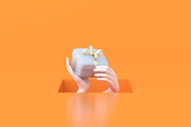 Il rendering 3d del foro quadrato con le mani tiene in mano una confezione regalo su sfondo arancione.