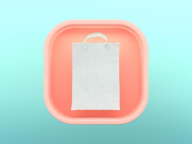 Concetto di acquisto dell'icona skeuomorphic quadrata della rappresentazione 3d