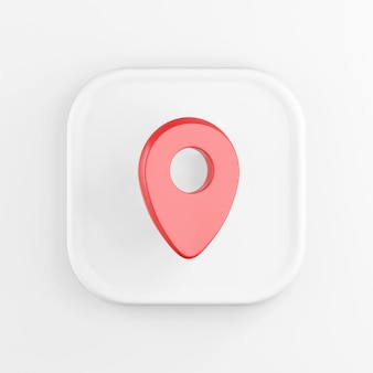 3d rendering quadrato bianco icona pulsante chiave rosso posizione simbolo isolato su sfondo bianco.