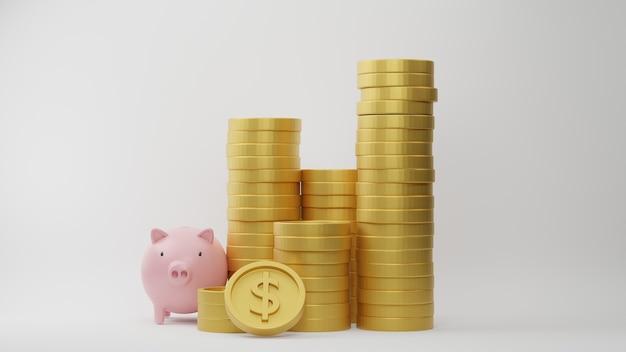 Rendering 3d. pila di monete in dollari con salvadanaio rosa su sfondo bianco. idea per affari finanziari e risparmio di denaro.