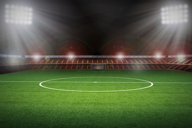 Stadio di rendering 3d con campo di calcio