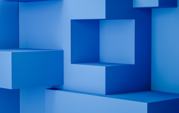 Sfondo di visualizzazione fase di rendering 3d, colore blu